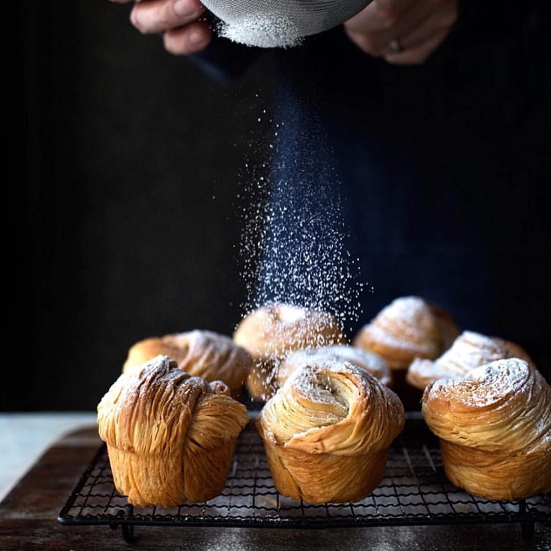 Repost by @cookniche - Another stunning photo by @ladyandpups - It wasn't an April Fool's joke. It is real. Took some stumbling and revisions, but my friends... Zero folding, no chilling, super flakey and shattering cruffins, using a pasta machine. My pleasure. Recipe now #ontheblog link in profile. #f52grams #feedfeed #cruffin #foodgrammers #foodwinewomen #foodhack #beautifulcuisines #bestfoodyear