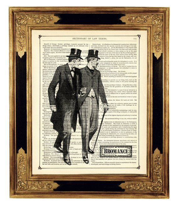 Sherlock Holmes & Dr John Watson Bromance Poster – Vintage Victorian Book Page Art Print Steampunk