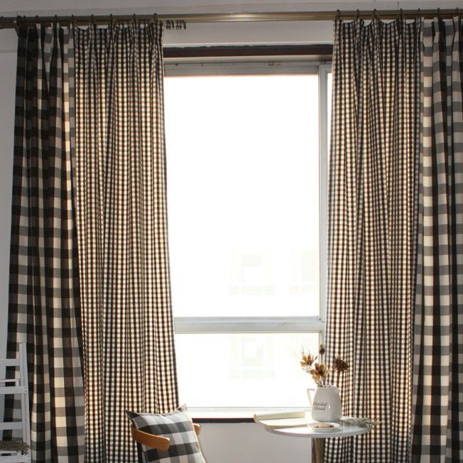 Country Style Plaid Cotton Chocolate Eco Friendly Curtains Two