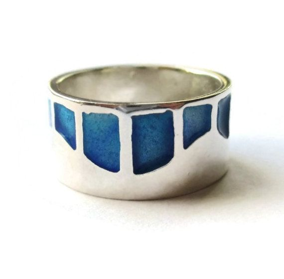 Modernist enamel sterling silver ring, inlaid panels