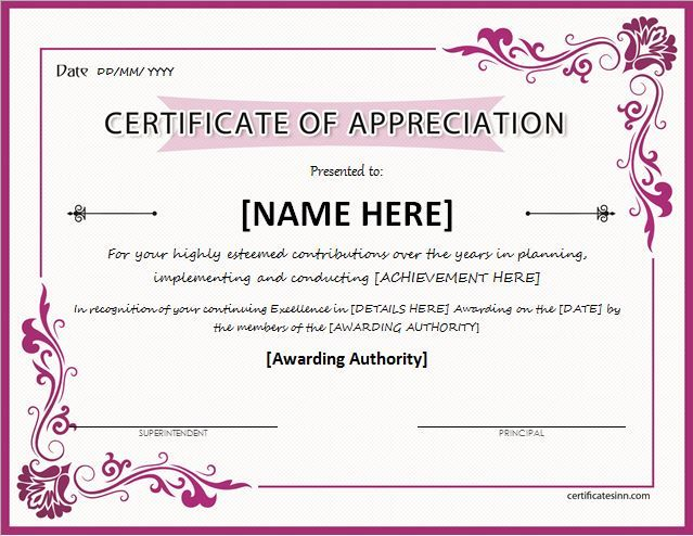 Certificate of Appreciation for MS Word DOWNLOAD at http - certificate of appreciation wordings