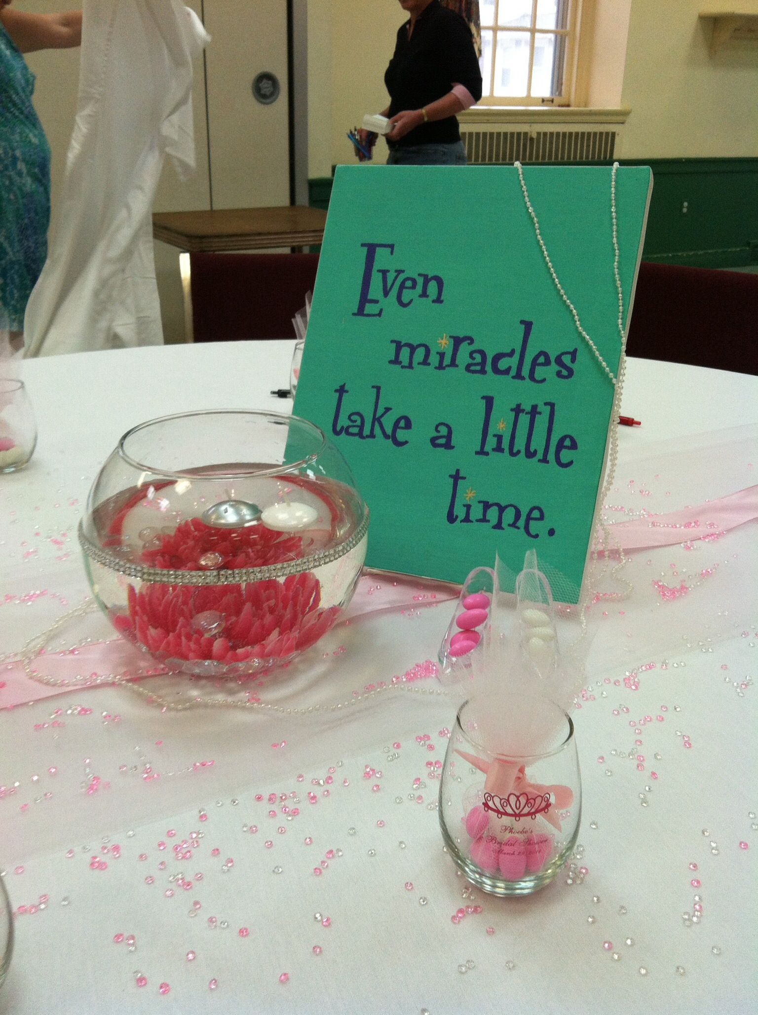 cinderella themed bridal shower table decorations canvas painted with cinderella quotes favors small wine glasses with brides name and shower date