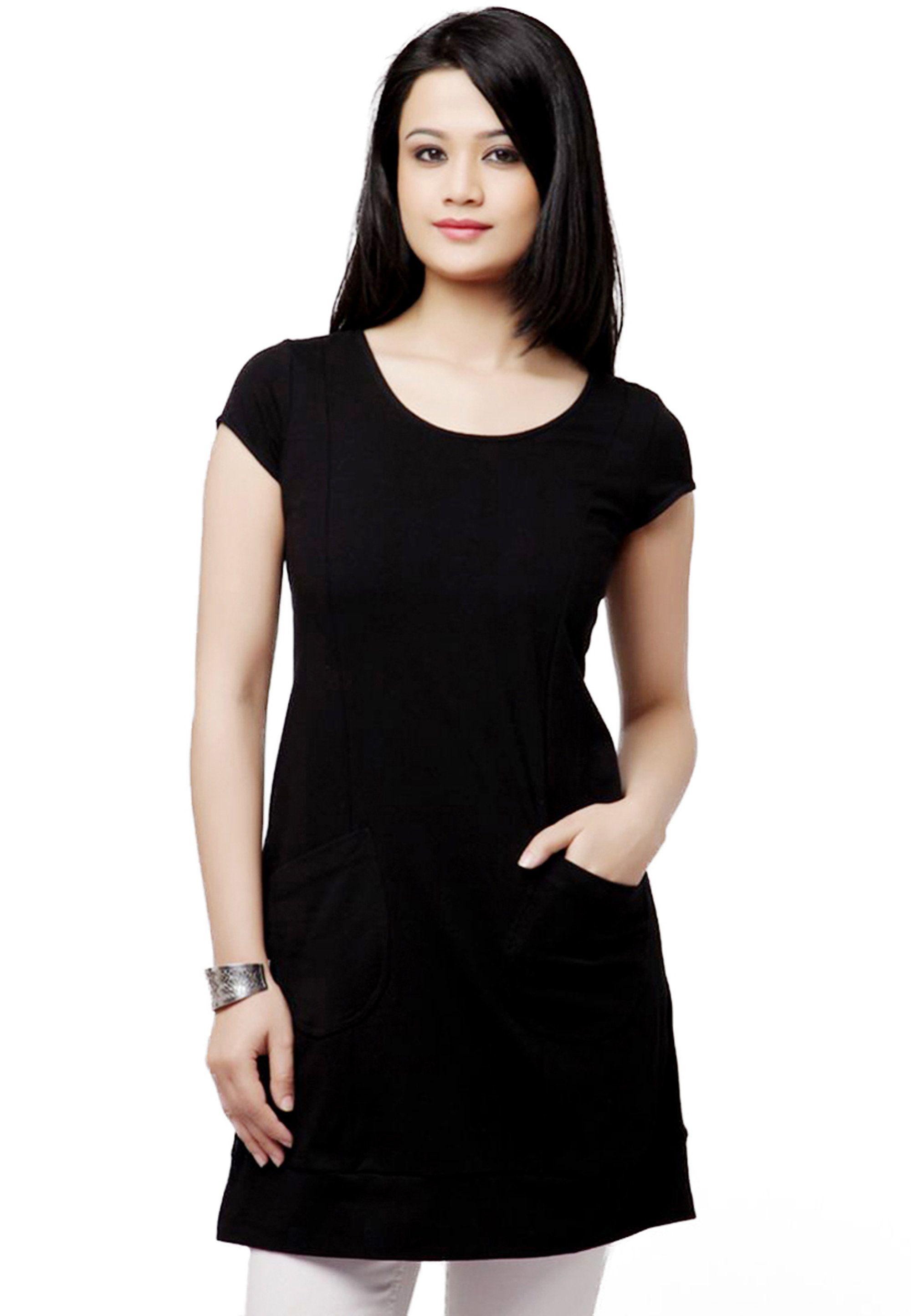 Black Color Plain Cotton Tunic Two Pocket Top Dress Cotton Tunics Short Sleeve Dresses Dresses For Work [ 2888 x 2000 Pixel ]