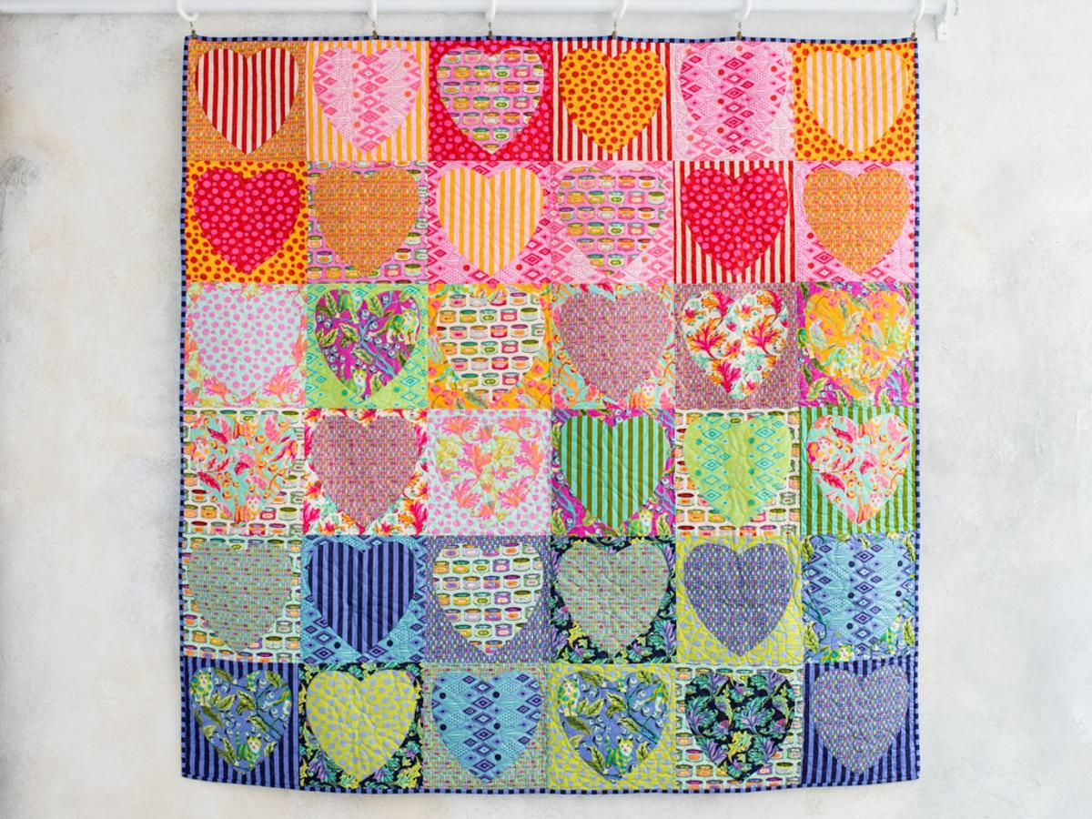 Faded Hearts Quilt Kit By Tula Pink Featuring Tabby Road
