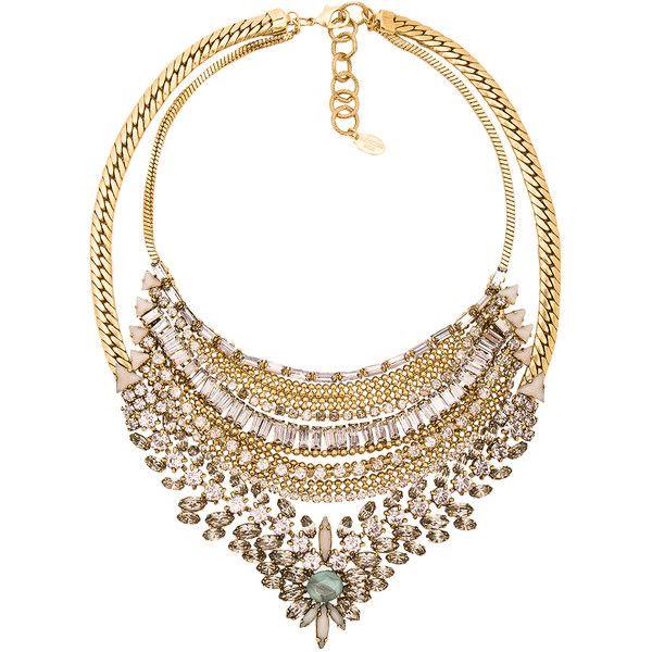 Elizabeth Cole Double Layer Chain Choker in Metallic Gold iLK2b