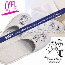 Zapatillas serigrafiadas nombre novios y fecha boda - Zapatillas andar por casa originales ...