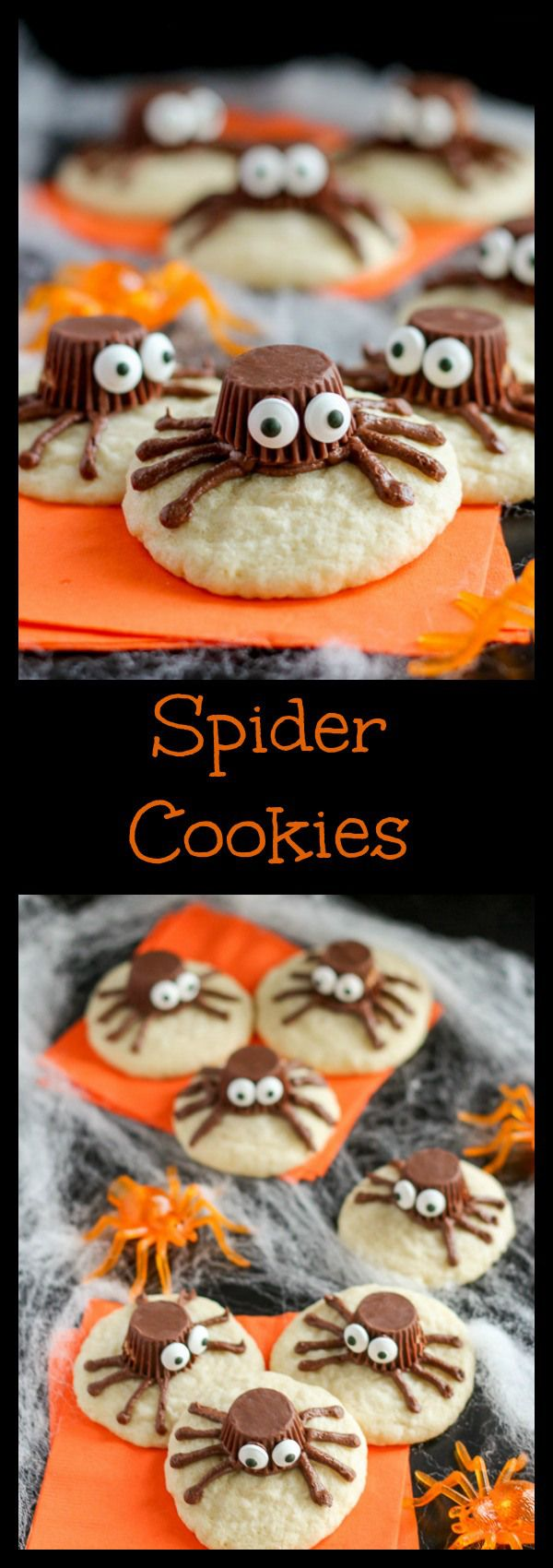 Spider Cookies- Sugar cookies decorated with chocolate frosting and mini peanut butter cups to look like spiders. An easy dessert for Halloween! #halloweencookiesdecorated