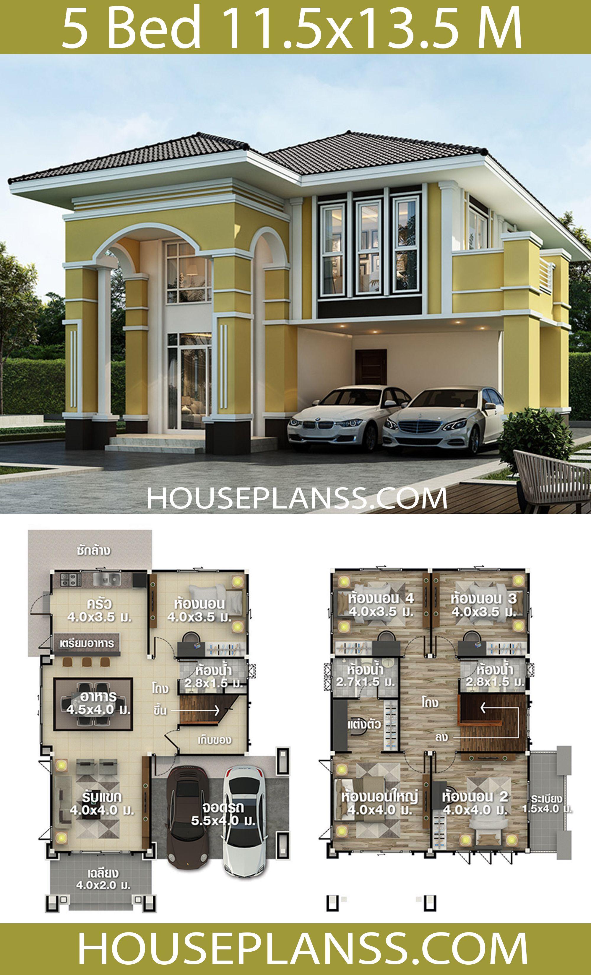 House Plans Idea 11 5x13 5 With 5 Bedrooms House Plans 3d In 2020 House Construction Plan Duplex House Design Model House Plan