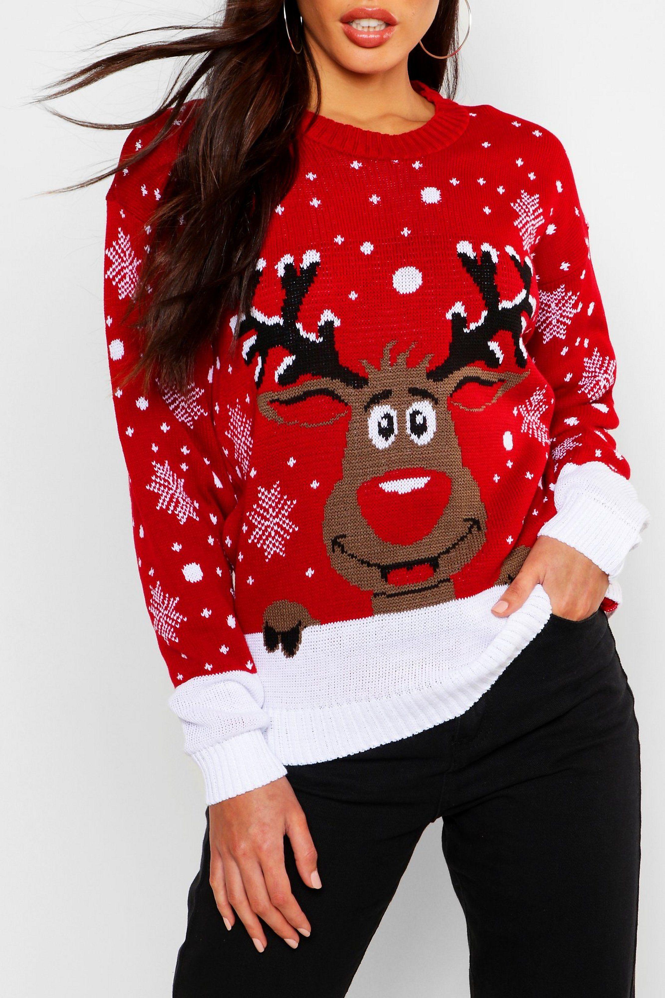 Contrast Hem Reindeer Christmas Sweater Boohoo In 2021 Reindeer Christmas Sweater Ladies Christmas Jumpers Christmas Sweaters [ 3273 x 2181 Pixel ]