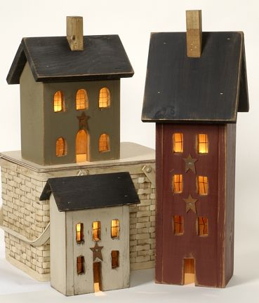 Love These Primitive Light Up Houses Home Primitive