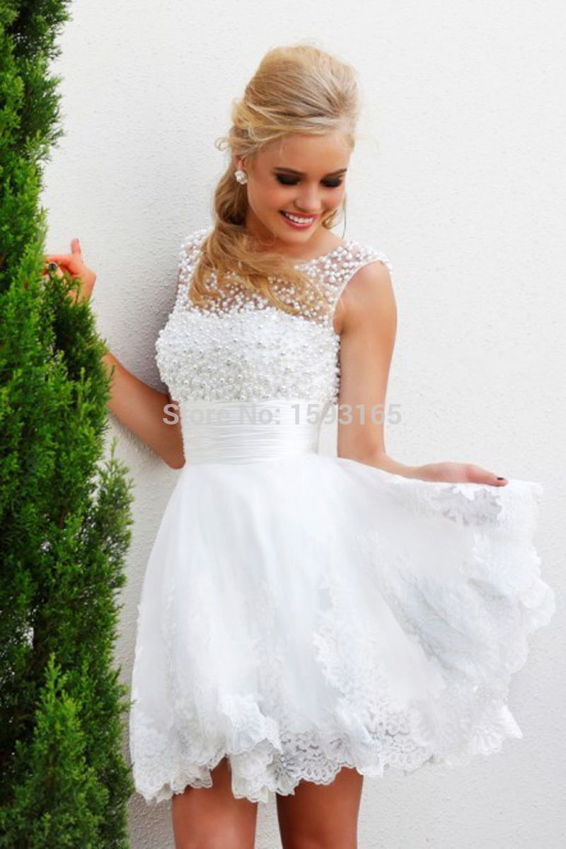 Laço branco curto de pérolas elegante vestido de noiva Lace apliques de vestidos de noiva em Hem em Vestidos de noiva de Casamentos e Eventos no AliExpress.com | Alibaba Group