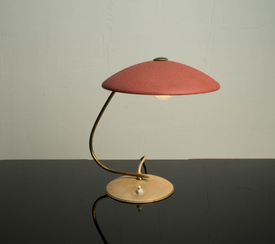 Late Bauhaus Period Red Table Lamp With A Brass Arm The Shade Is Adjustable Making It Very Useful As A Desk Lamp A Work Light Desk Lamp Lamp Retro Desk Lamp