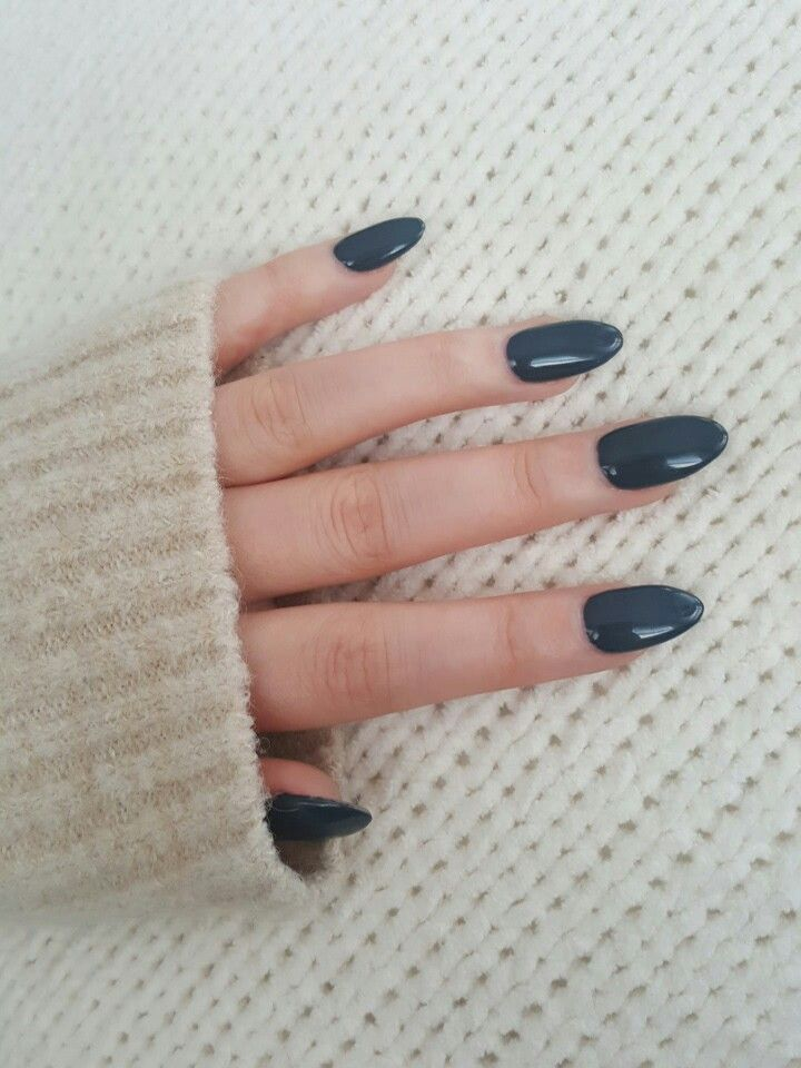 My Blue Grey Almond Nails Gray Nails Almond Acrylic Nails Blue Gel Nails