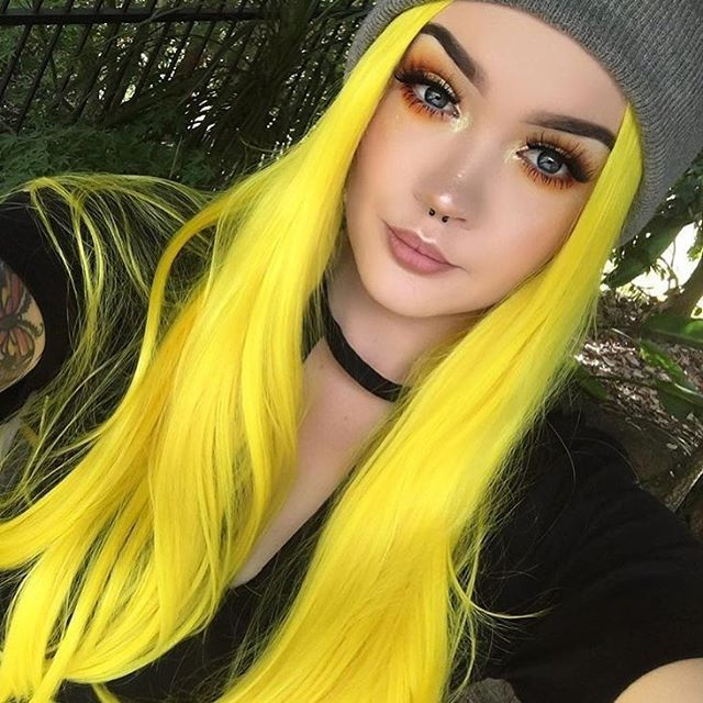 Glowstix Bright Yellow Long Straight Synthetic Lace Front Wig Gallery
