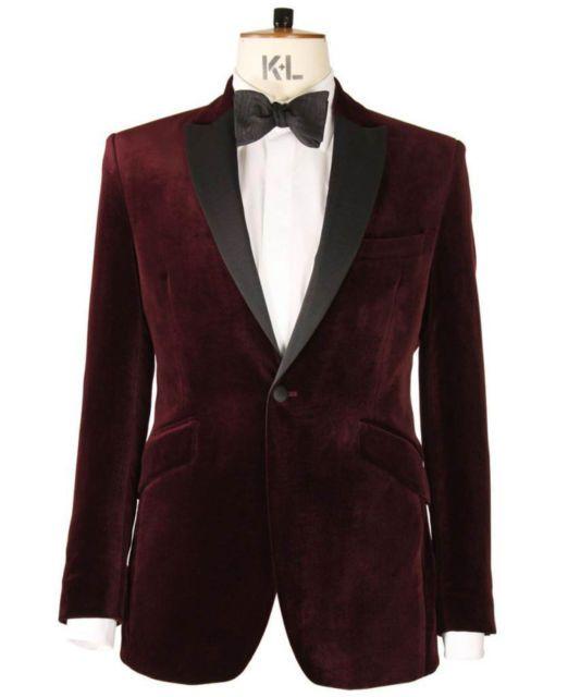 540220fe7 Mens New Wedding Grooms Tuxedo Dinner Casual Maroon Velvet Coat ...