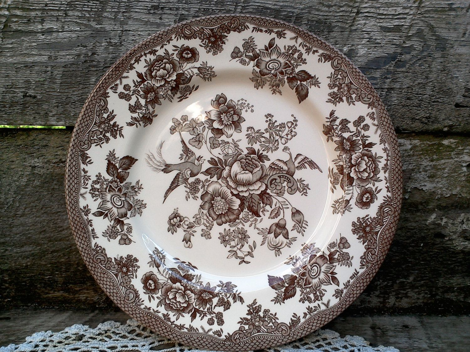 ROYAL STAFFORD Brown Transferware Pheasant Large 11\  plate Dinner Plate Aesthetic Pheasants Plate England Serving Wall Decor : pheasant dinnerware - pezcame.com