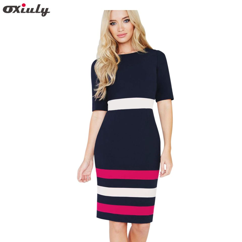 ce56861f7a642 Oxiuly Summer Office Lady Color Contrast Patchwork Fitted Dress ...
