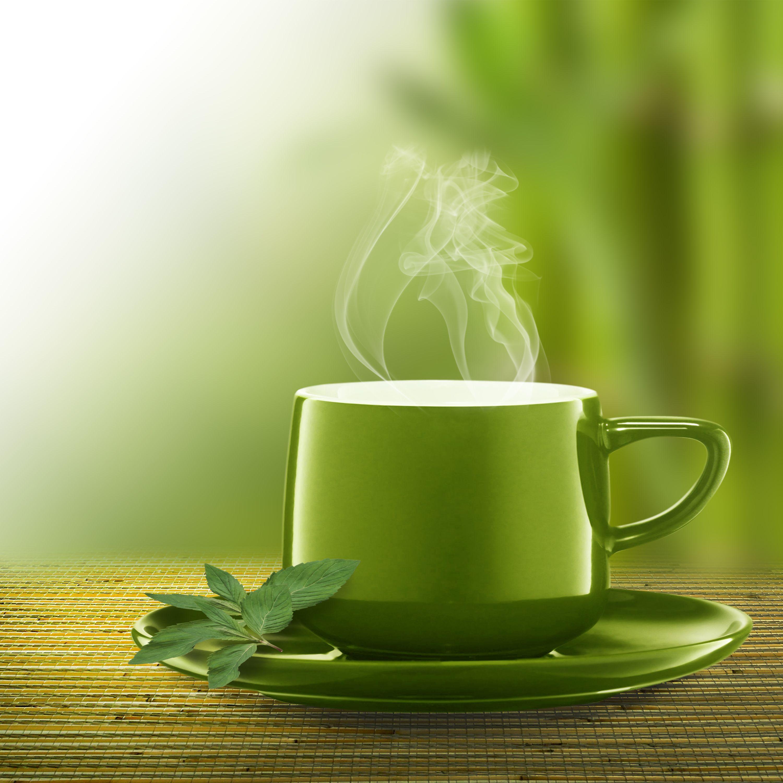 Сделать картинку, открытка с зеленым чаем доброе утро