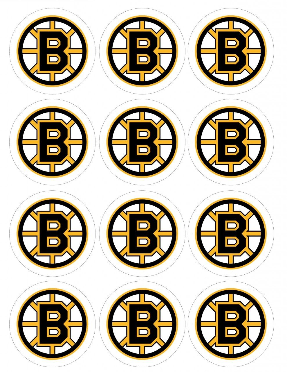 2 5 Quot Boston Bruins Cupcake Edible Icing Image Toppers 1