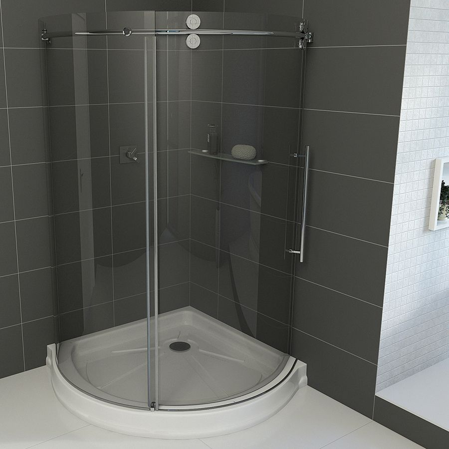 Vigo Frameless Showers Chrome Acrylic Floor Round 3 Piece Corner
