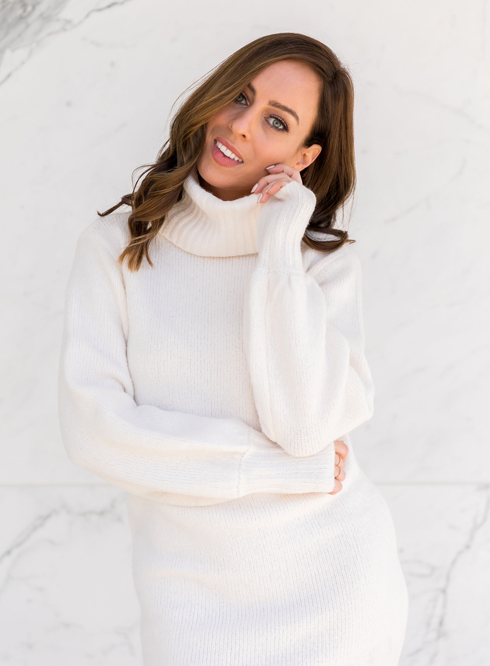 6db16058b832 Sydne Style wears guess sweater dress for cozy winter style #winterwhite  #turtleneck #white #marble #sweaterdress @sydnesummer