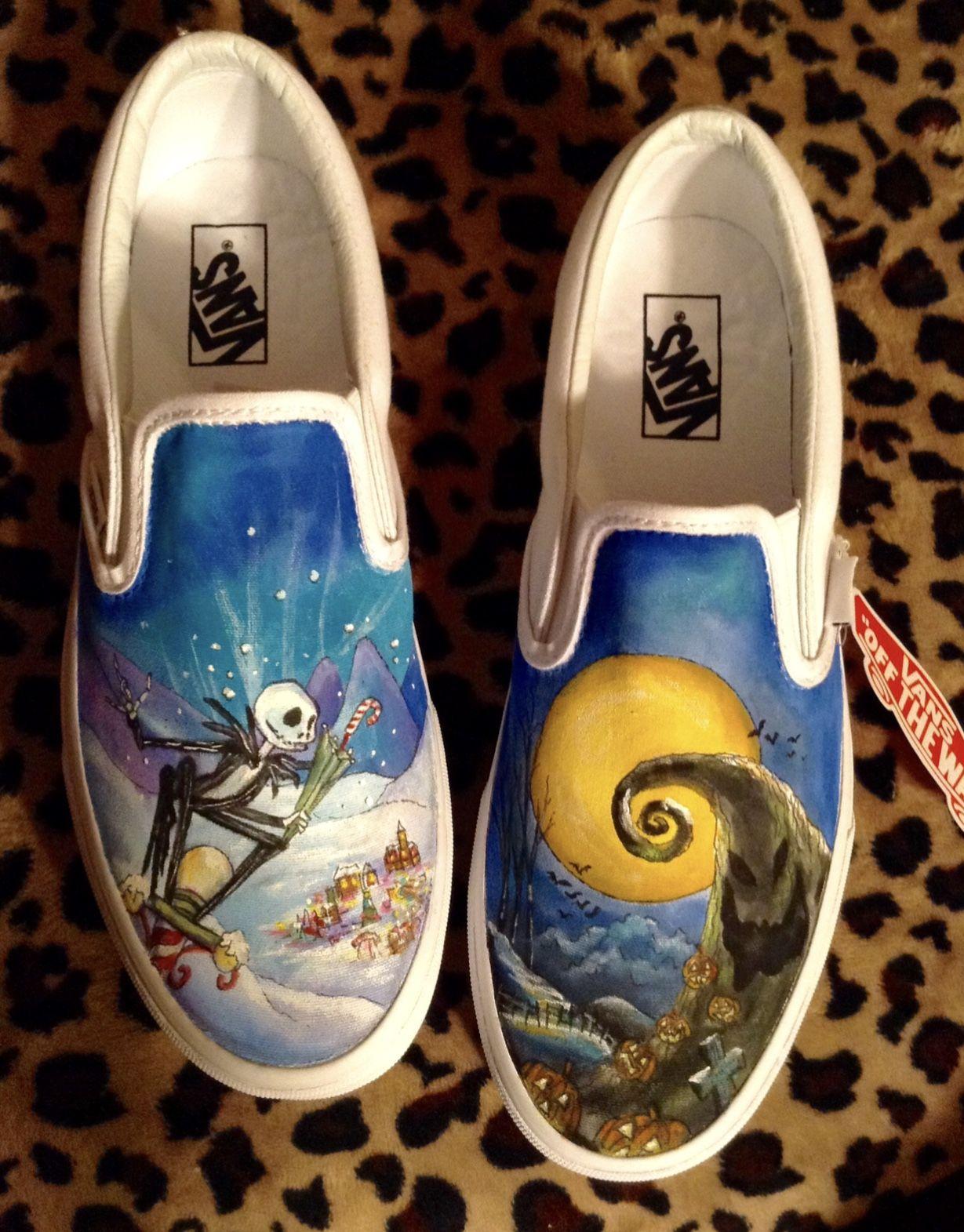 Handmade shoes Custom made Hand-painted Nightmare Before Christmas Slip on shoes