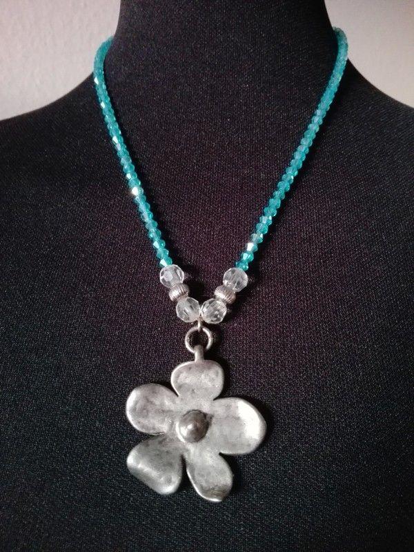 Halskette, Collier Türkis, Anhänger Blume, Silber