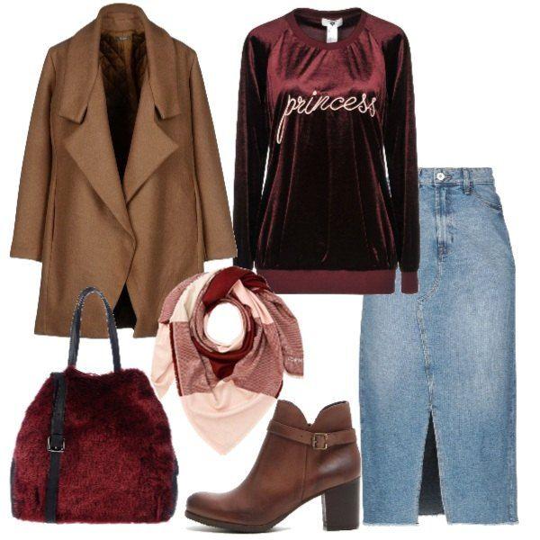 Cappotto cammello, gonna in jeans longuette, splendida ...