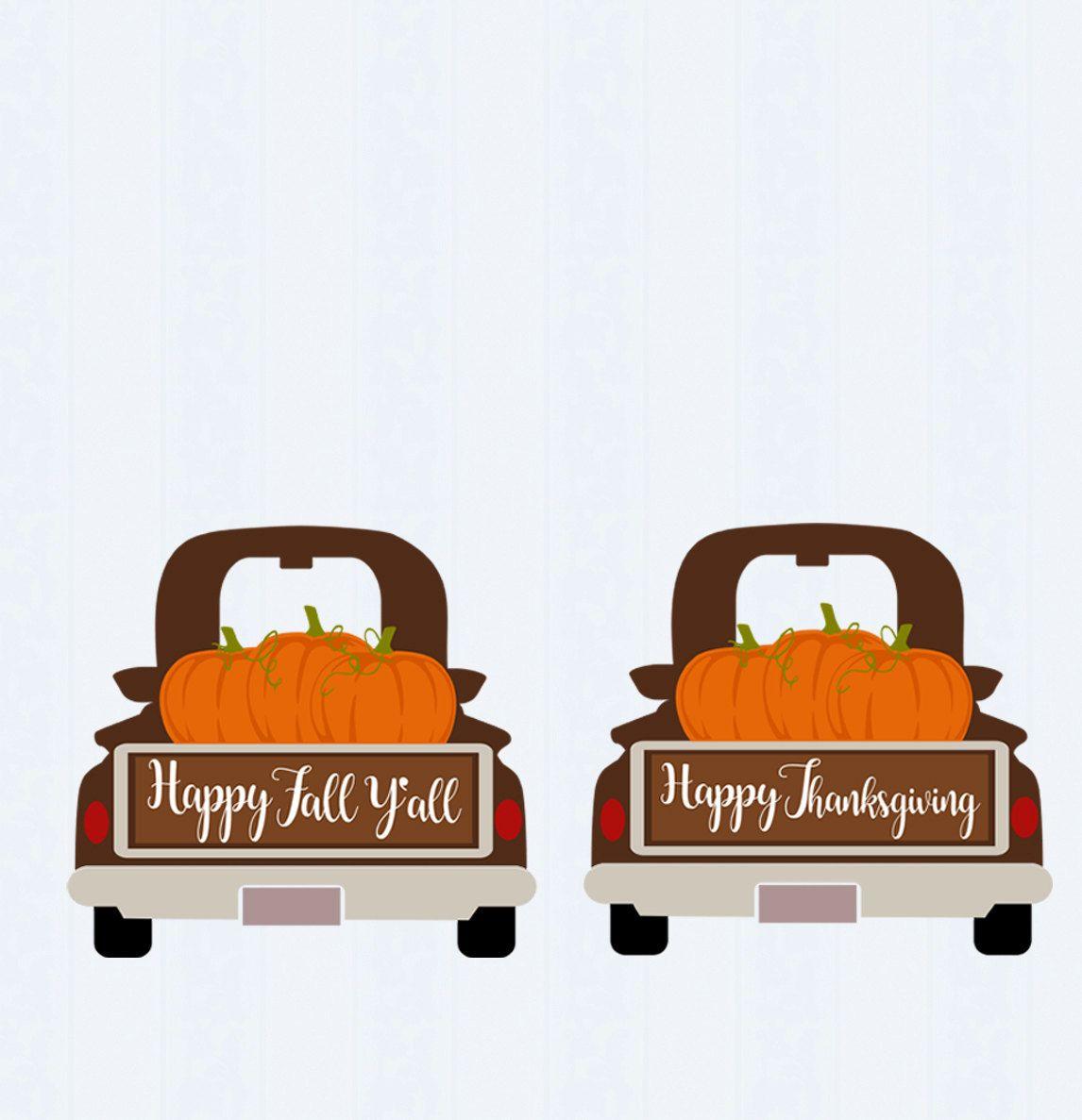 autumn Red Truck svg png jpg eps dxf pdf Vintage Truck Happy Fall Yall Fall Pumpkin Truck SVG thanksgiving clipart pumpkins