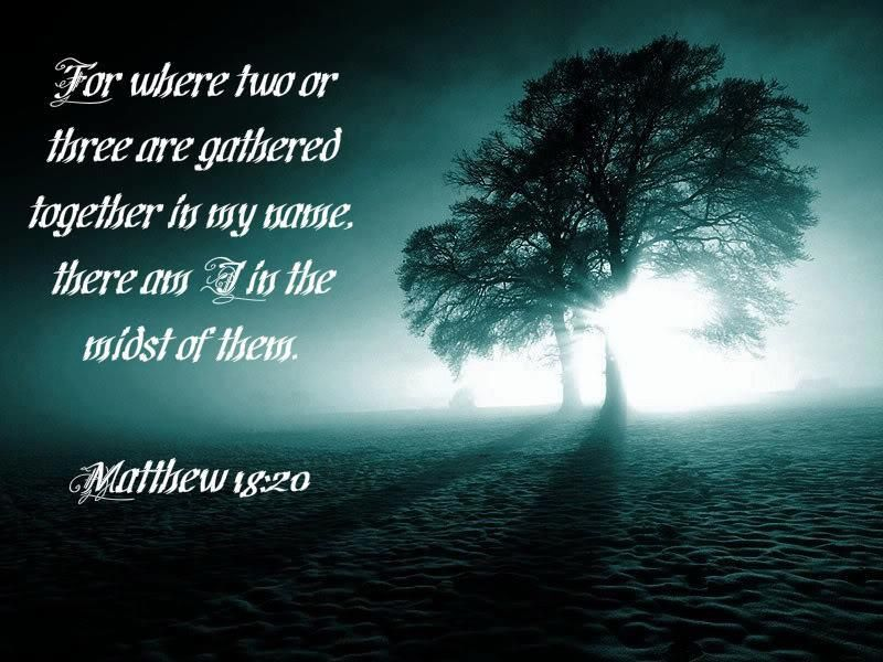 Matthew 18:20 For where two or three gather together as my followers, I am there among them.""