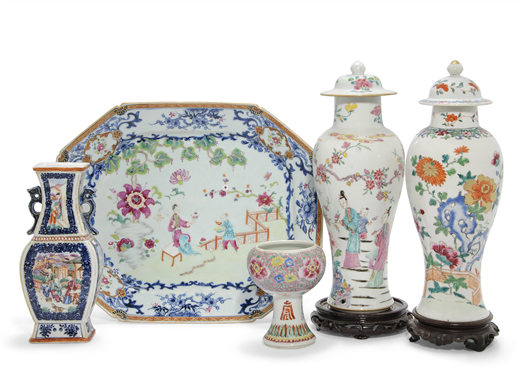 A GROUP OF FAMILLE ROSE PORCELAIN