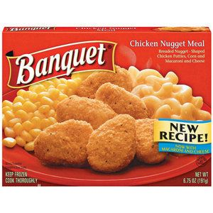 Banquet Breaded Nugget Shaped Chicken Patties Corn And Macaroni And Cheese Meal