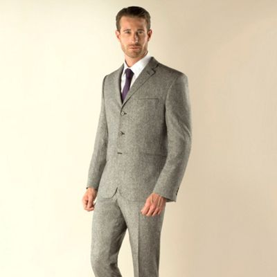 Stvdio by Jeff Banks Grey donegal 3 button modern fit suit jacket- at Debenhams.com