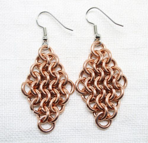 Handcrafted Chainmail Maille Diamond Shape Copper Dag Earrings | JulieKindtStudio -  on ArtFire