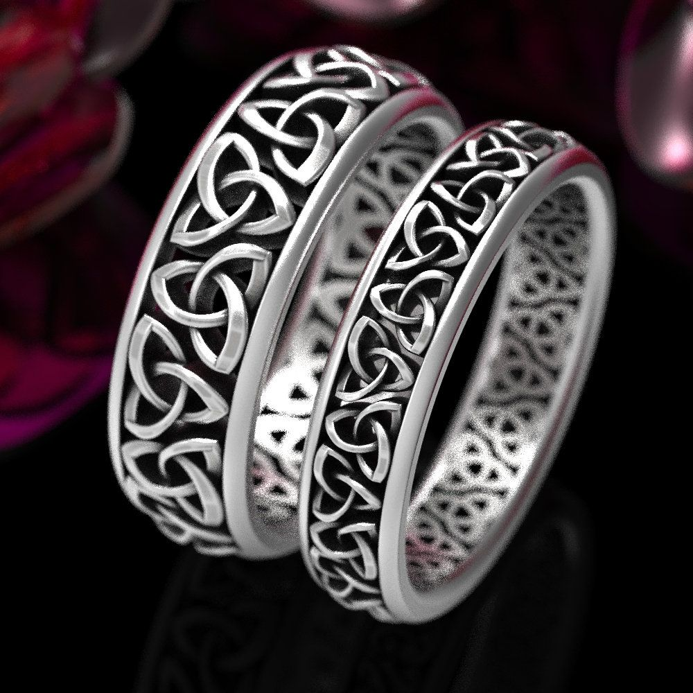 Celtic wedding ring set his hers matching rings celtic