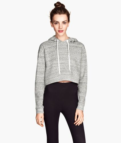 df64635a9c7 Short Hooded Sweatshirt | H&M | Sweaters | Sweater, shorts, Hooded ...