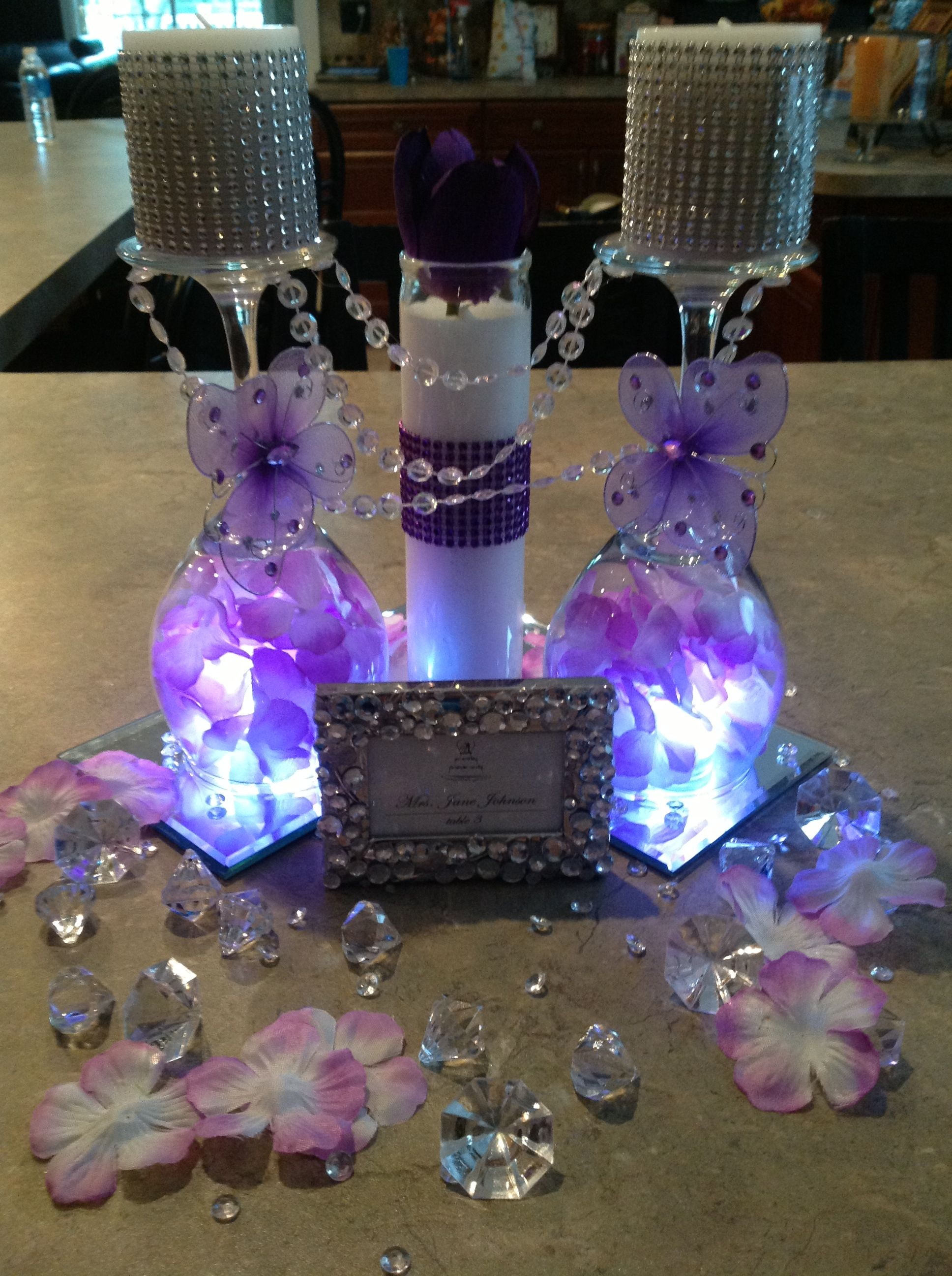 Centerpiece Butterfly Purple Bling