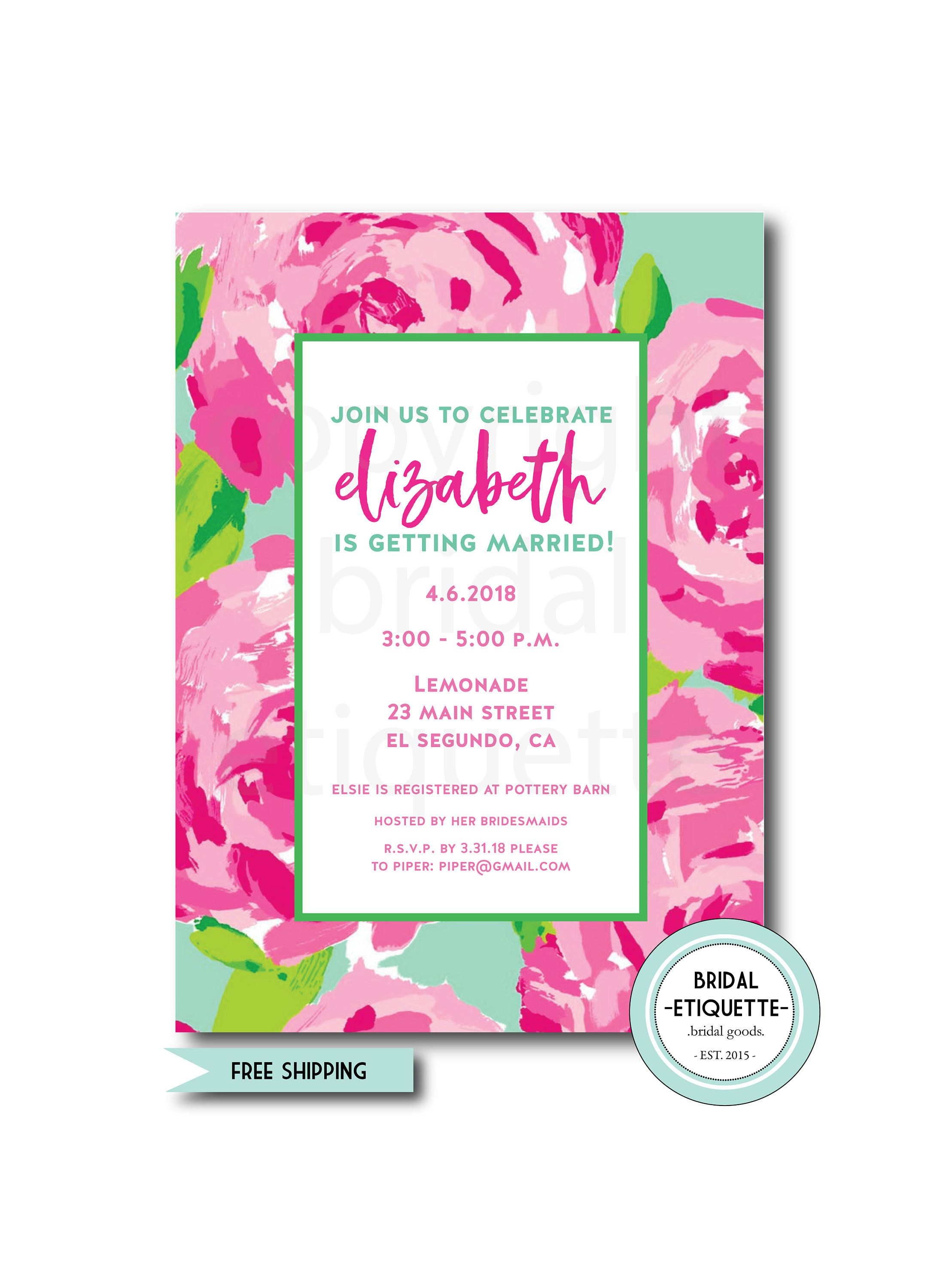rose bridal shower invite tropic wedding showersummer wedding shower lilly pulitzer rose inspired bridal shower invite spring shower