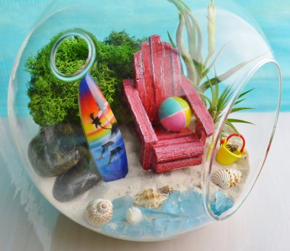 ♥´¨) ¸.•´ ¸.•*´¨)¸.•*¨) (¸.•´ (¸.•`♥~ Beach Dolphin Surf board Terrarium Kit with Surfboard, Beach Ball and Chair! Look at all the cute little miniatures included in this one! I love it! Very Colorful! Also includes Dark Green Moss, Beach Bucket, small shells, sea glass for ocean and some black rocks. This terrarium measure 7D and 8 Tall. I love it! Lets go to the beach!!! Great gift idea too. These terrariums have a flat bottom so they can easily sit or hang. SURFBOARD: There are severa...