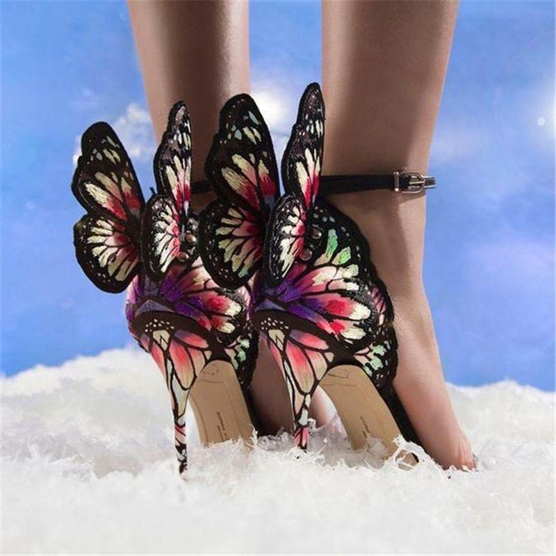 Suppliers:Hanbaidi Sandalias Mujer 2018 Women Summer Sandals Black Pink Butterfly $85