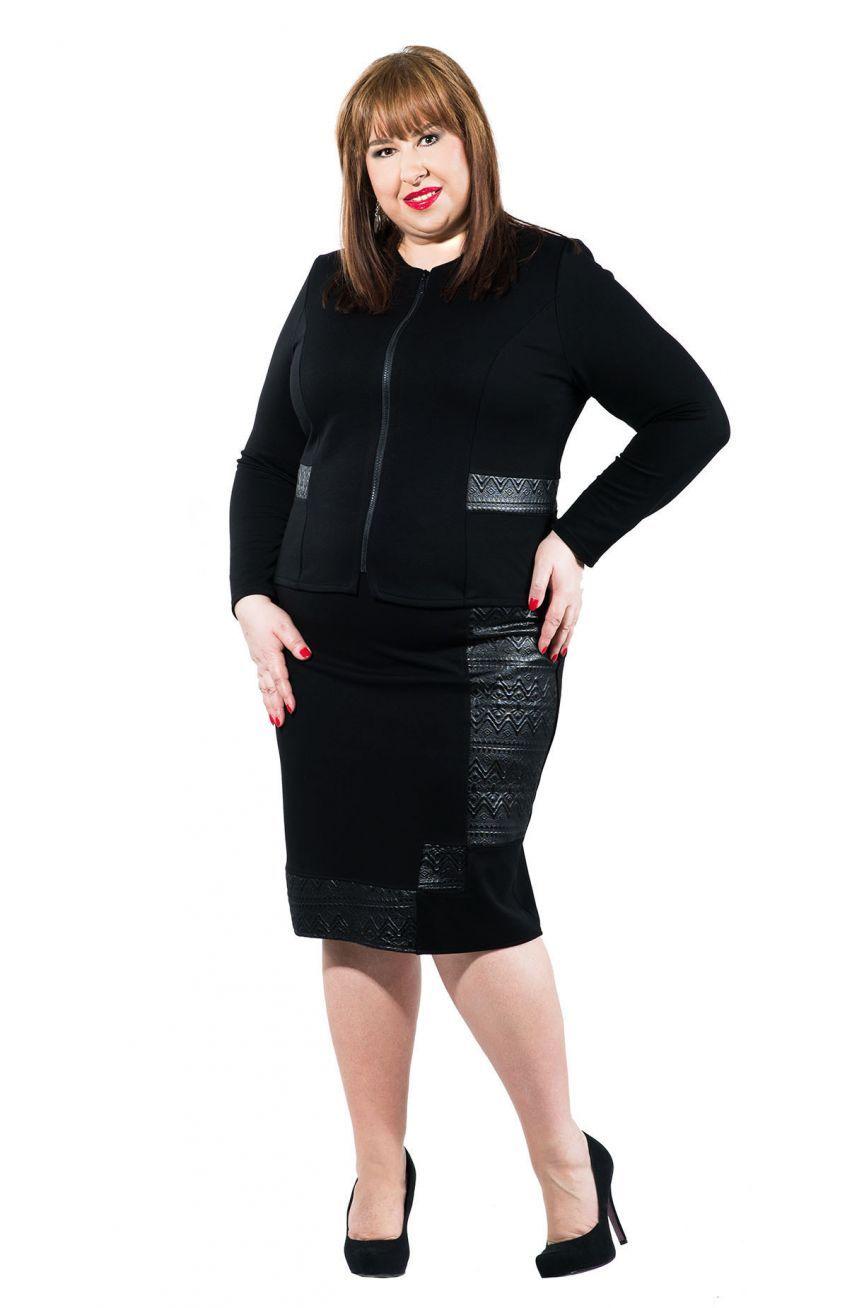 3d4615c6 Czarna prosta spódnica z połyskującymi wstawkami - Modne Duże ...