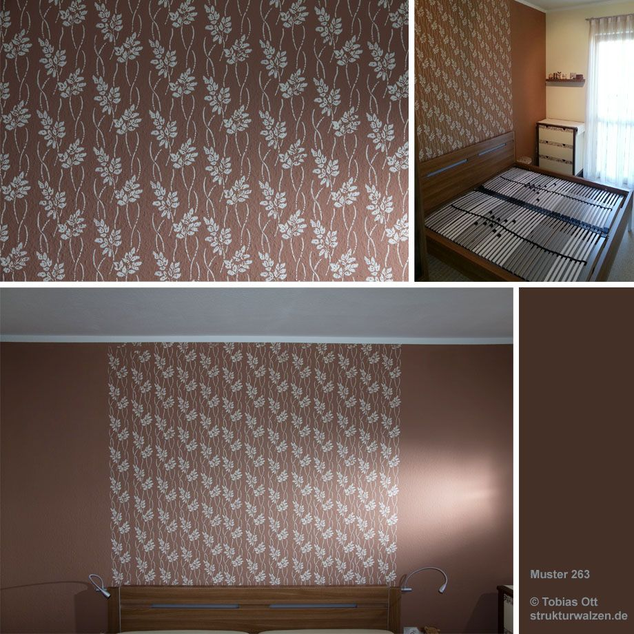 Braun Wände Mit Muster   Blätterwalze 263 ... Brown Wall Rolled With  Pattern Stencil