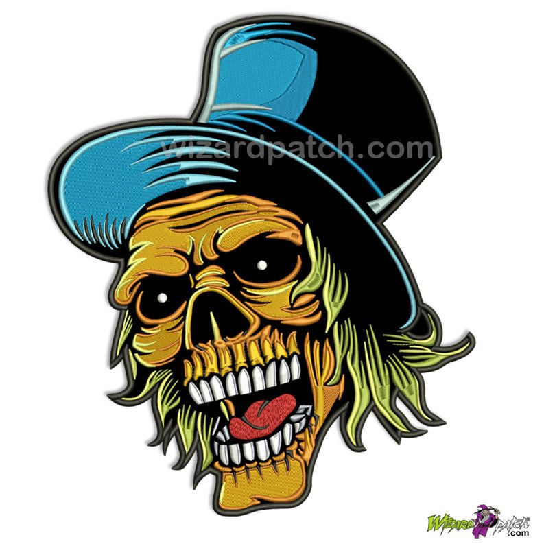 "*NEW* ORANGE SKULL FACE JOKER WITH BLUE HAT 11"" BACK PATCH – WizardPatch™"