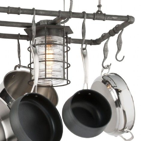 Luminaire rectangle suspendu industriel en fer forgé vieil argent