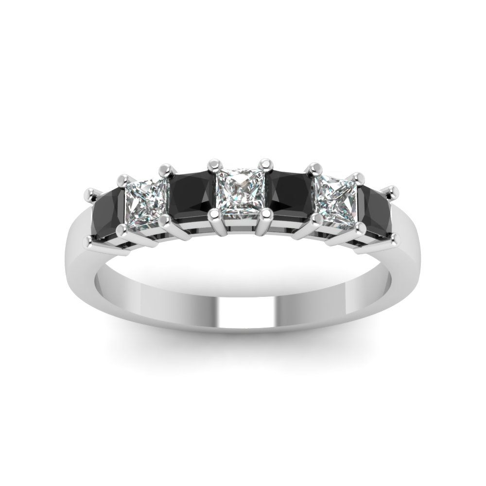 Princess 7 Stone Anniversary Band Custom Wedding Rings with Black Diamond in 18K White Gold exclusively styled by Fascinating Diamonds