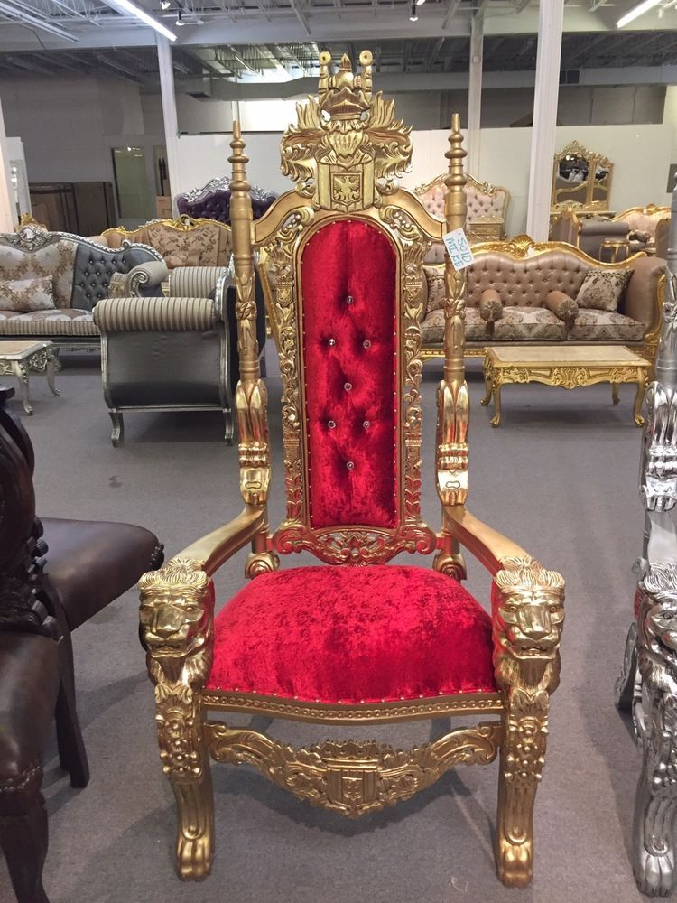 33 off gold red gothic tattoo salon boutique king queen lion throne chair hollywoodregency play nice or go home pinterest chairs queen and tattoo