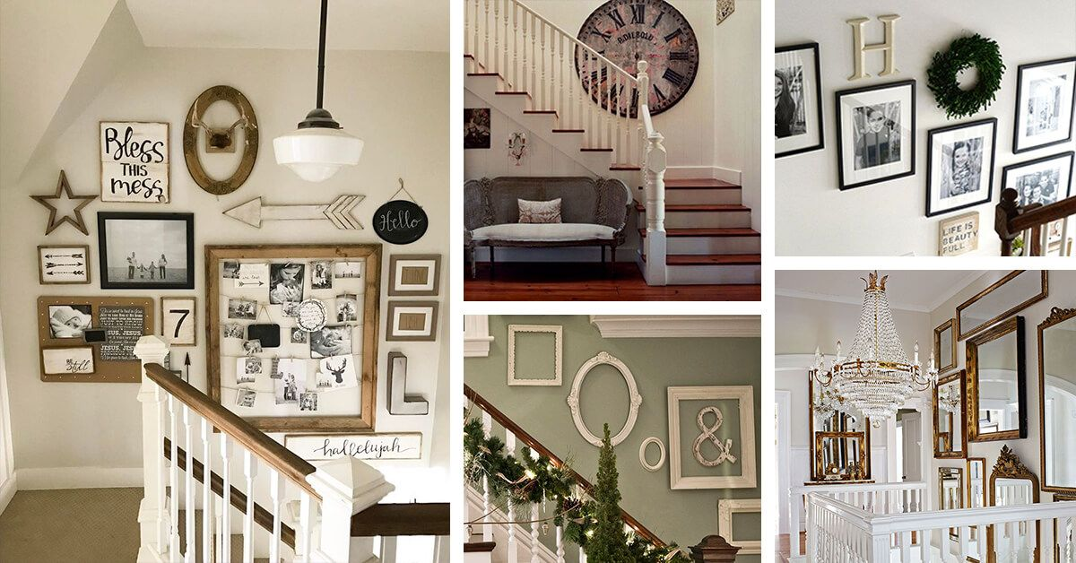 28 stilvolle Treppen-Dekorationsideen für die Darstellung von Pflanzen bis hin zu Bildern – Dekoration ideen