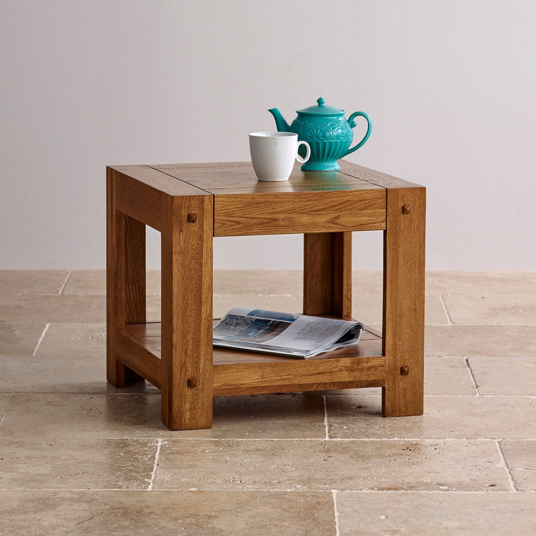 The Quercus Rustic Solid Oak Side Table Is Crafted From Premium Grade Solid  Oak Using