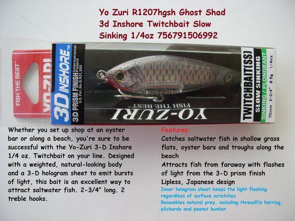 Yo Zuri R1207HGSH Ghost Shad 3d Inshore Twitchbait Slow Sinking 1/4 OZ