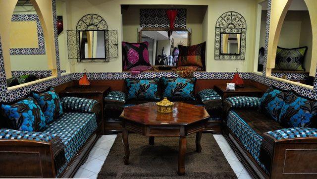 Charmant Salon Marocain Traditionnel (Bleu Et Marron) De Hasnae.com